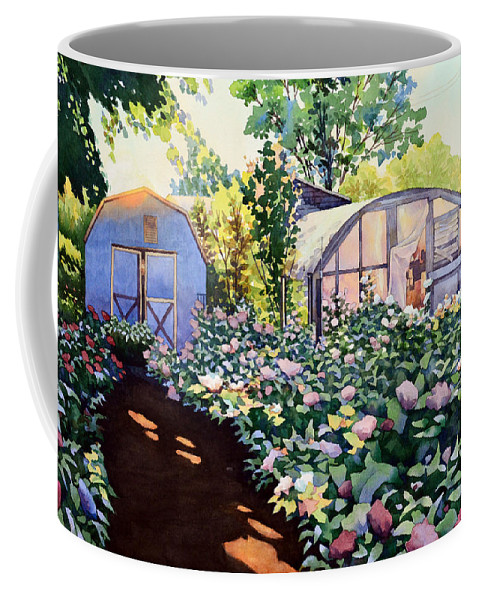 Watercolor Coffee Mug featuring the painting Tool Shed And The Greenhouse by Mick Williams