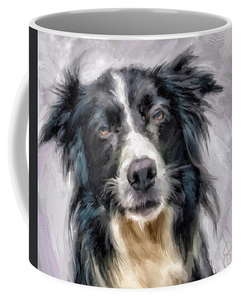 Border Collie Coffee Mug featuring the digital art Top Dog by Scott Waters