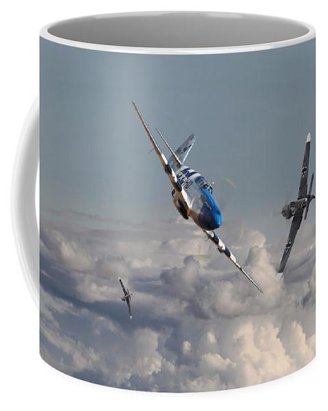 Aircraft Coffee Mug featuring the photograph Top Gun - 1944 Version - P51 V Bf109g by Pat Speirs