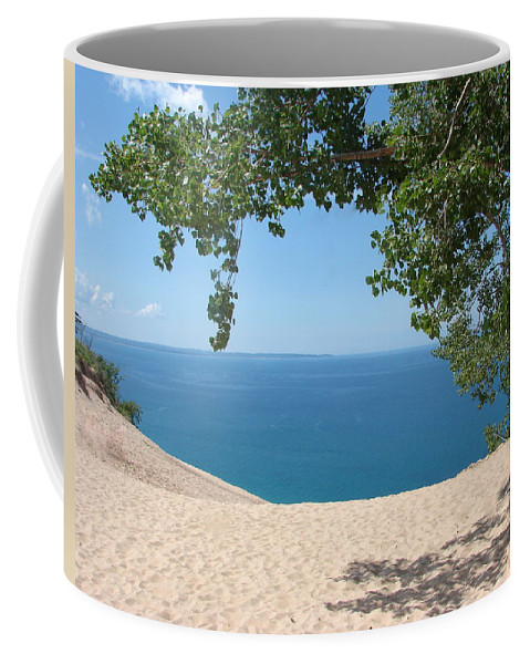 Sleeping Bear Dunes Coffee Mug featuring the photograph Top Of The Dune At Sleeping Bear by Michelle Calkins