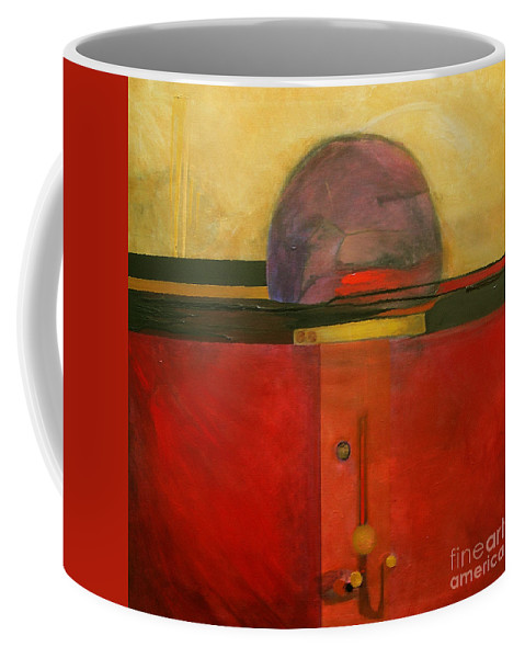 Abstract Coffee Mug featuring the painting Tops by Marlene Burns