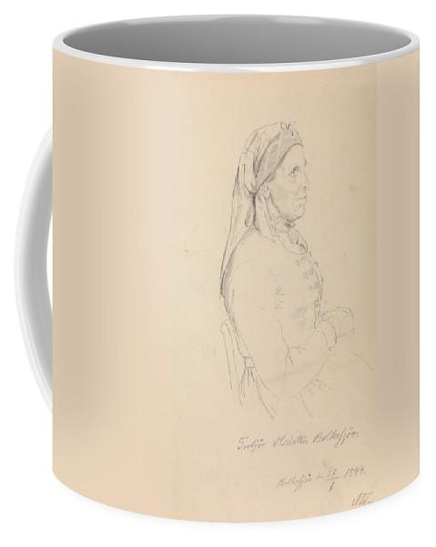 Norwegian Art Coffee Mug featuring the drawing Torbjorg Olsdatter Bolkesjo by Adolph Tidemand