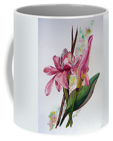 Flower Painting Floral Painting Botanical Painting Flowering Ginger. Coffee Mug featuring the painting Torch Ginger Lily by Karin Dawn Kelshall- Best
