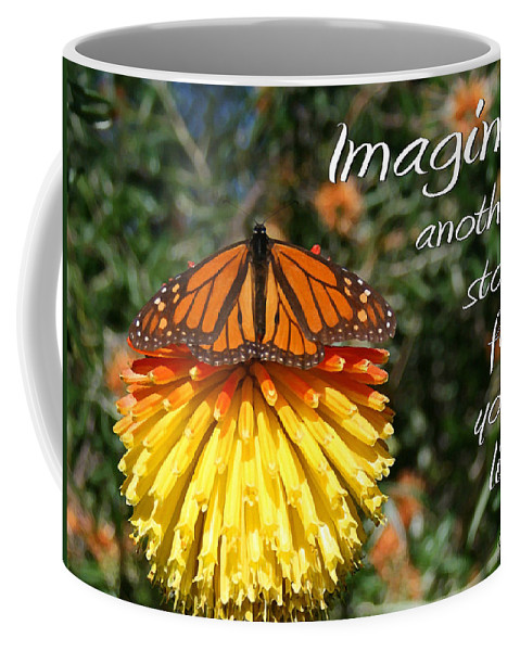 Torch Lily And Monarch Coffee Mug featuring the painting Torch Lily And Monarch by Ellen Henneke