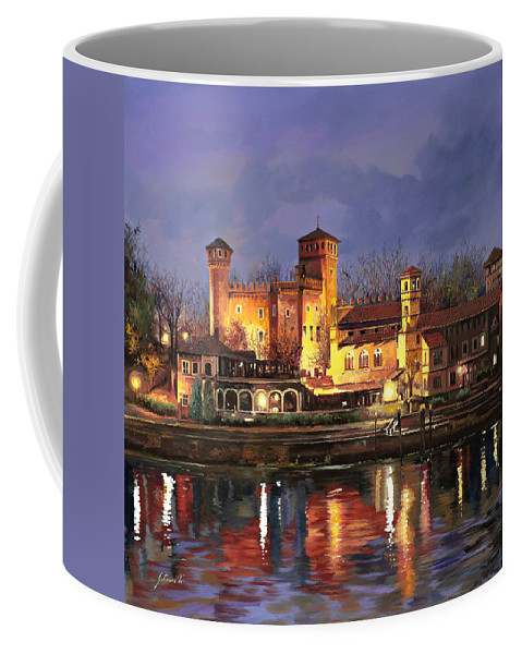 Castle Coffee Mug featuring the painting Torino-il Borgo Medioevale Di Notte by Guido Borelli