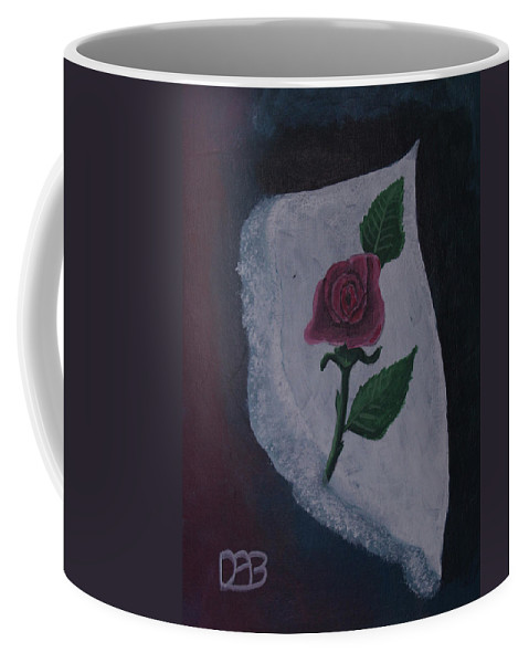 Rose Coffee Mug featuring the painting Torn Canvas Rose by David Bigelow
