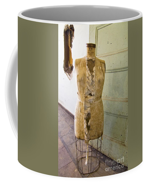 Preston School Of Industry Coffee Mug featuring the photograph Torn Dress Form by Norman Andrus