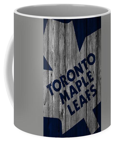 Maple Leafs Coffee Mug featuring the digital art Toronto Maple Leafs Wood Fence by Joe Hamilton