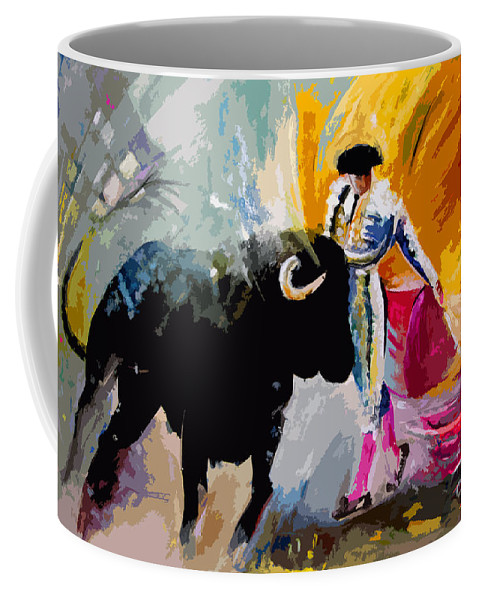 Toros Coffee Mug featuring the mixed media Toroscape 03 by Miki De Goodaboom