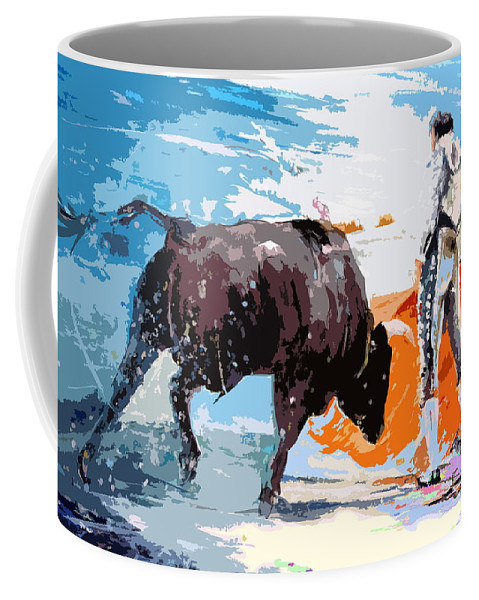 Bullfight Coffee Mug featuring the painting Toroscape 37 by Miki De Goodaboom