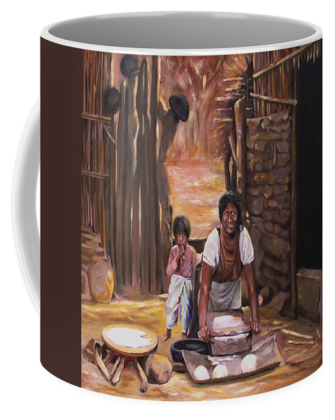 Mexican Coffee Mug featuring the painting Tortillas De Madre by Nancy Griswold