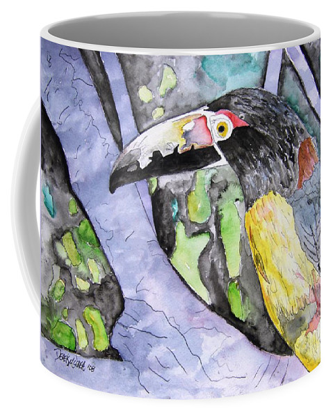 Touccan Coffee Mug featuring the painting Toucan Bird Tropical Painting Fine Modern Art Print by Derek Mccrea