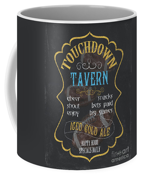Beer Coffee Mug featuring the painting Touchdown Tavern by Debbie DeWitt