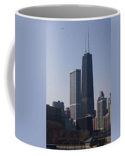 Chicago Windy City Skyscraper Building High Tall Big Blue Sky Urban Metro Coffee Mug featuring the photograph Touching The Sky by Andrei Shliakhau
