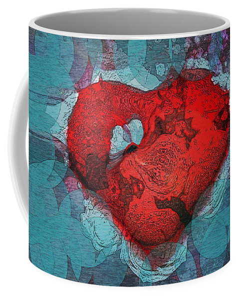 Abstract Art Coffee Mug featuring the digital art Tough Love by Linda Sannuti