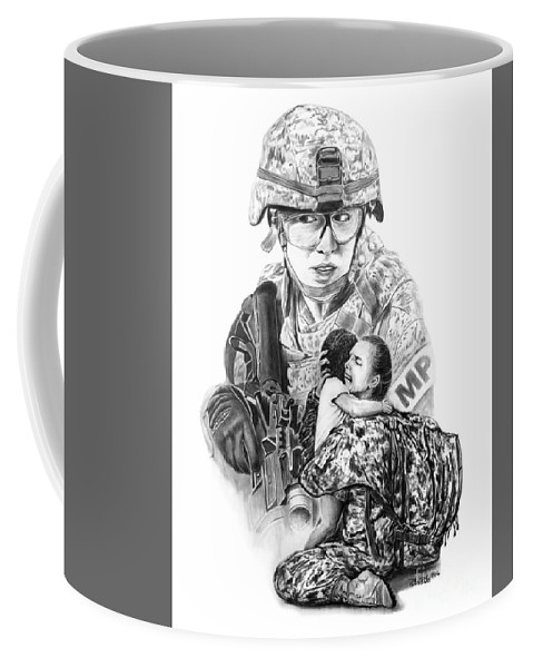 Tour Of Duty - Women In Combat Coffee Mug featuring the drawing Tour Of Duty - Women In Combat Le by Peter Piatt