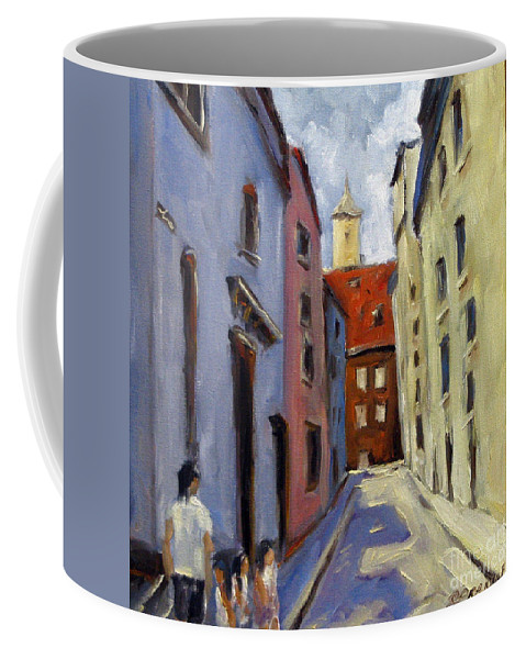 Urban Coffee Mug featuring the painting Tour Of The Old Town by Richard T Pranke