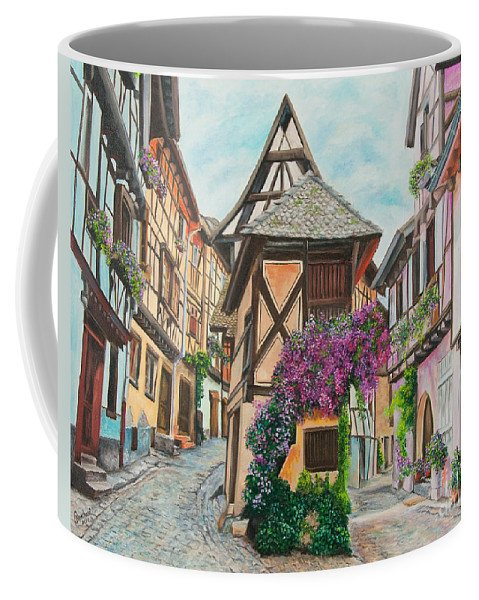 France Coffee Mug featuring the painting Touring In Eguisheim by Charlotte Blanchard
