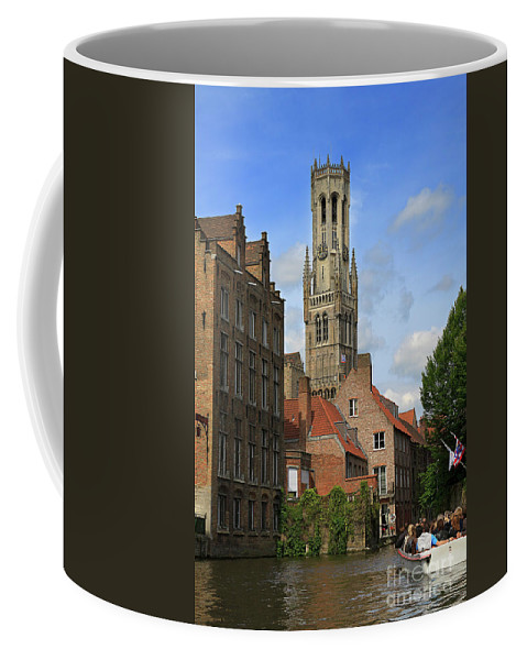 Bruges Coffee Mug featuring the photograph Tower Of The Belfrey From The Canal At Rozenhoedkaai by Louise Heusinkveld
