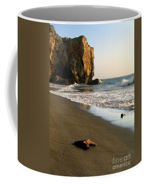 Ocean Coffee Mug featuring the photograph Towering Cliffs On Ocean Front by Yali Shi