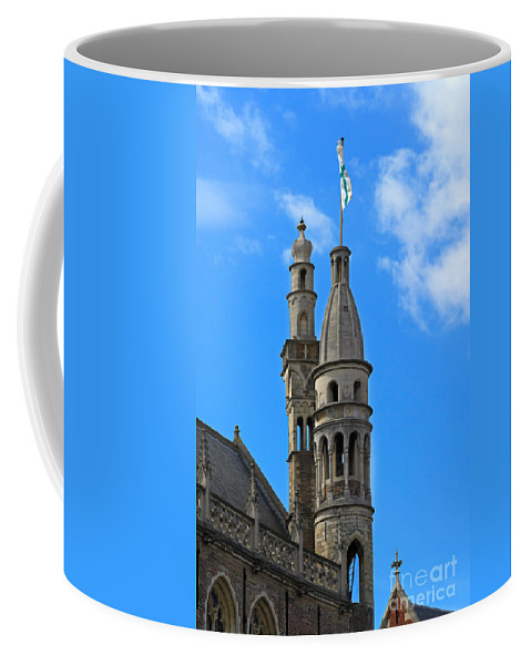 De Burg Coffee Mug featuring the photograph Towers Of The Town Hall In Bruges Belgium by Louise Heusinkveld