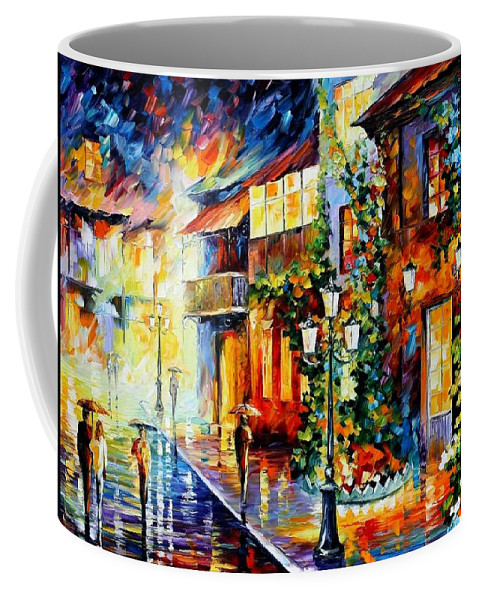 Afremov Coffee Mug featuring the painting Town From The Dream by Leonid Afremov