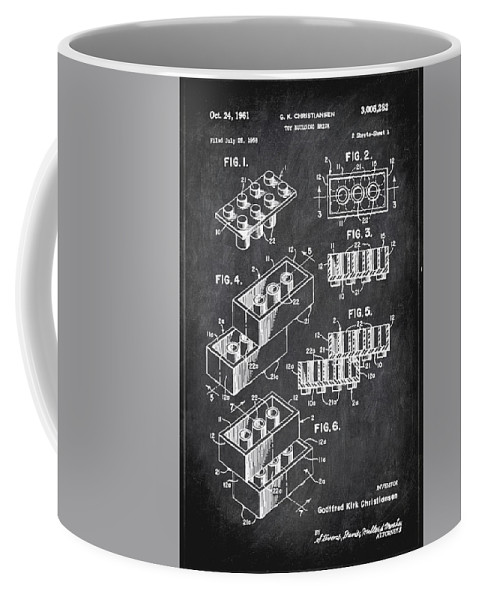 Patent Coffee Mug featuring the mixed media Toy Building Brick Patent Drawing 1b by Brian Reaves