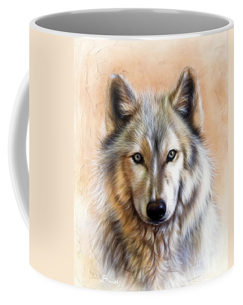 Wolves Coffee Mug featuring the painting Trace Two by Sandi Baker