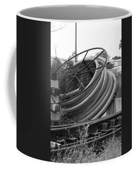 Blacka Nd White Coffee Mug featuring the photograph Tracks And Cable by Rob Hans