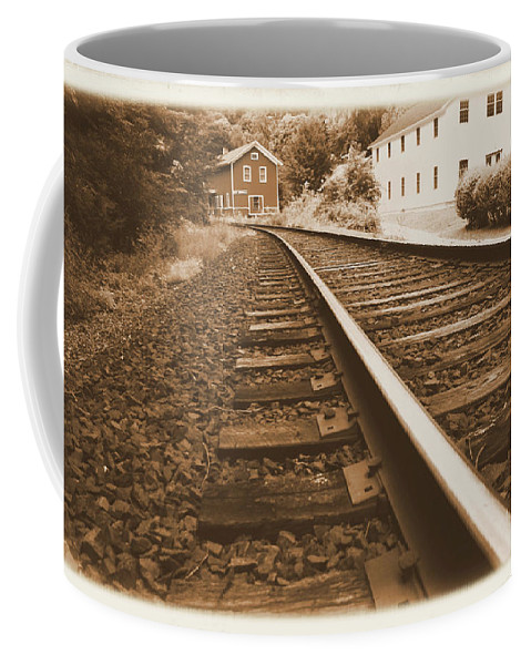 Landscape Coffee Mug featuring the photograph Tracks To Town by Karol Livote