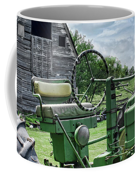 Agriculture Coffee Mug featuring the photograph Tractor Barn by Nikolyn McDonald