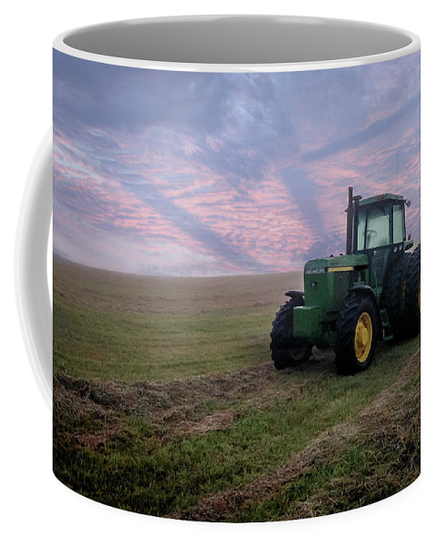 Tractor Coffee Mug featuring the photograph Tractor In A Field - Early Morning by Don Valentine