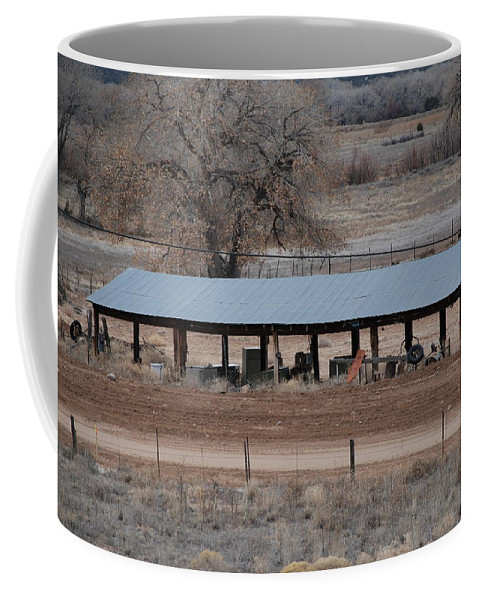 Architecture Coffee Mug featuring the photograph Tractor Port On The Ranch by Rob Hans