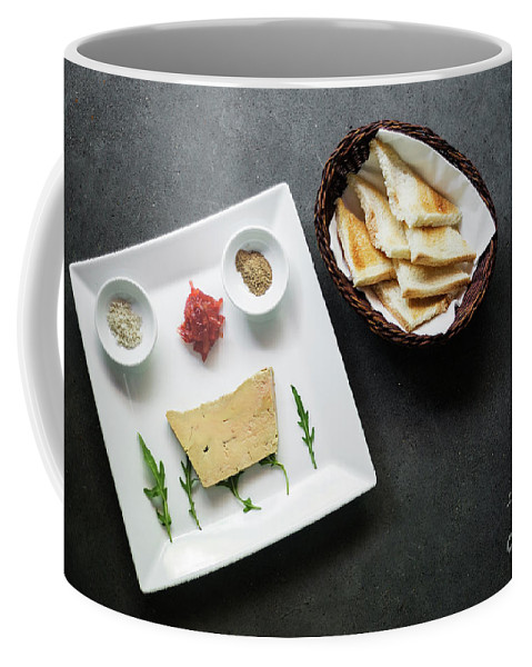 Appetizer Coffee Mug featuring the photograph Traditional French Foie Gras Pate And Toast Starter Snack Platte by Jacek Malipan