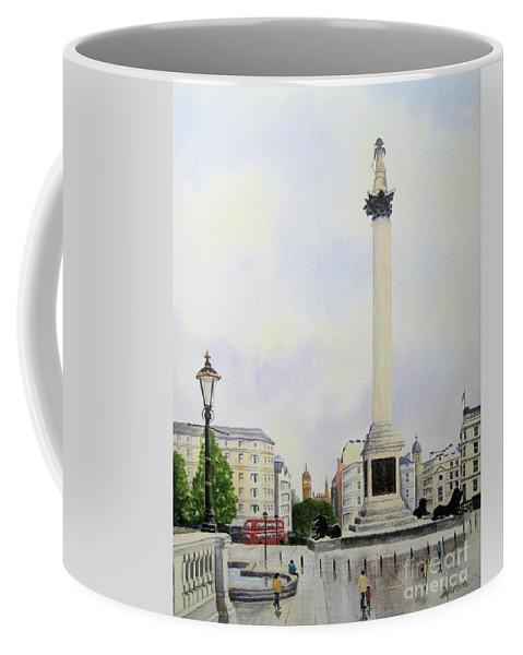 Trafalgar Square Coffee Mug featuring the painting Trafalgar Square London by Diane Marcotte