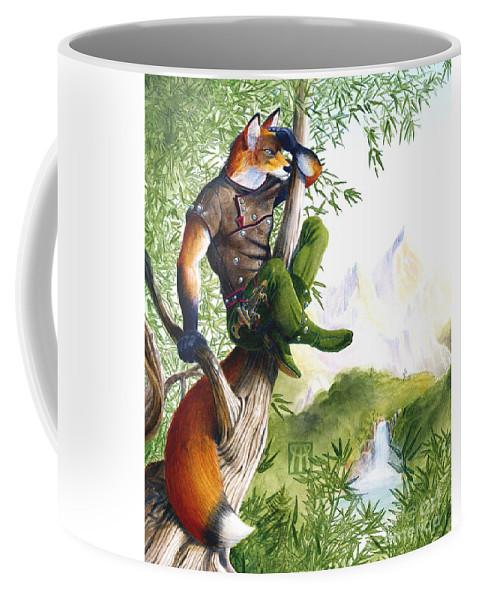 Fantasy Coffee Mug featuring the painting Trail Blazing Fox by Melissa A Benson