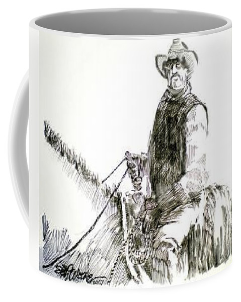 Trail Boss Coffee Mug featuring the drawing Trail Boss by Seth Weaver