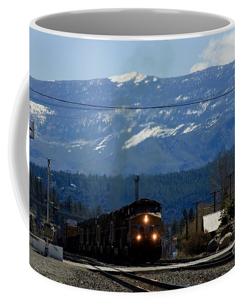 Train Coffee Mug featuring the photograph Train Entering Truckee California by Thomas Marchessault
