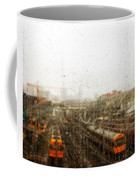Susan Vineyard Coffee Mug featuring the photograph Train In The Rain by Susan Vineyard