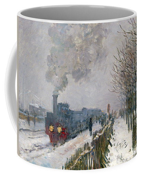 Train Coffee Mug featuring the painting Train In The Snow Or The Locomotive by Claude Monet
