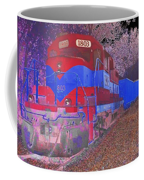 Abstract Coffee Mug featuring the photograph Train On Railroad Tracks - Abstract In Blue And Red by Scott D Van Osdol