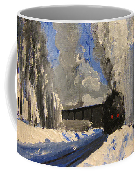 Landscape Coffee Mug featuring the painting Train by Patricia Awapara