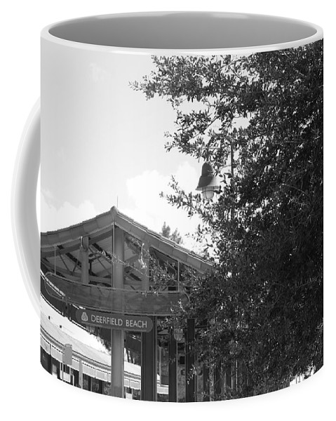 Black And White Coffee Mug featuring the photograph Train Station In Deerfield Beach by Rob Hans