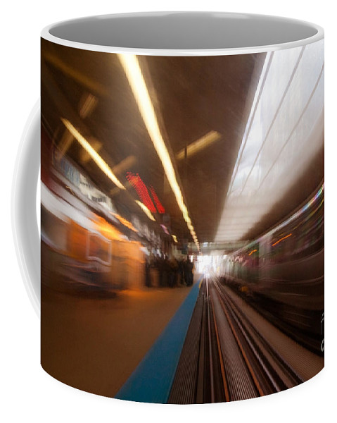 Train Coffee Mug featuring the photograph Train Station In Motion by Sven Brogren