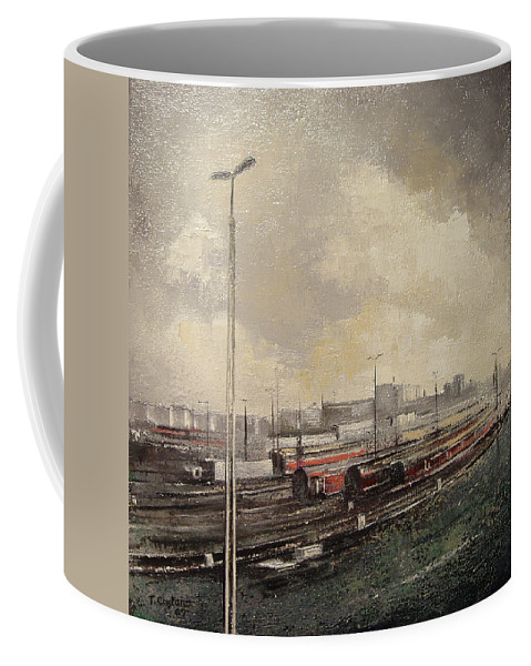Train Coffee Mug featuring the painting Train station by Tomas Castano