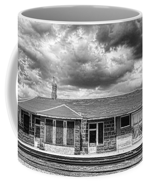 Train Coffee Mug featuring the photograph Train Stop Bw by James BO Insogna