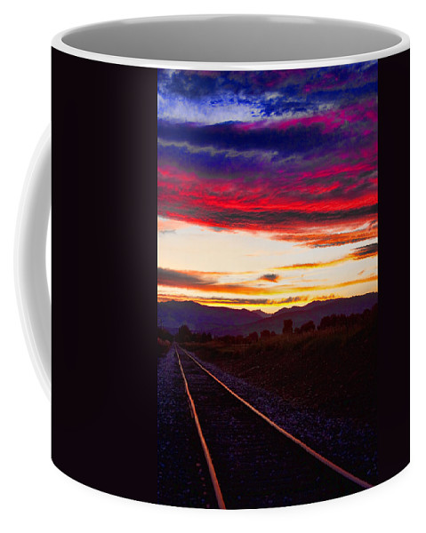Train Tracks Coffee Mug featuring the photograph Train Track Sunset by James BO Insogna