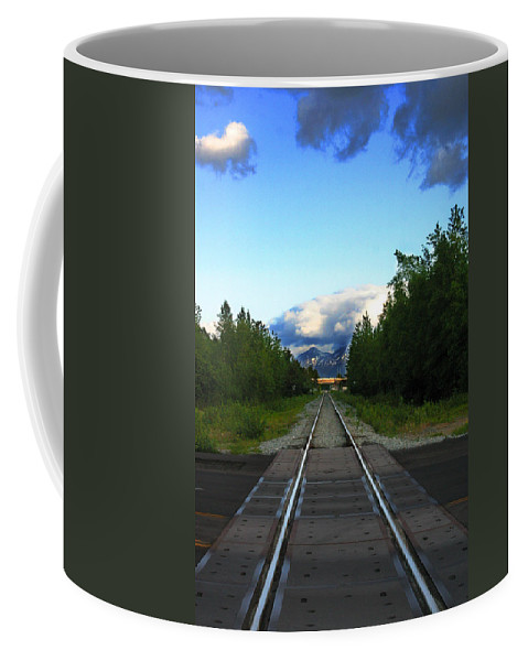Train Coffee Mug featuring the photograph Train Tracks Anchorage Alaska by Anthony Jones