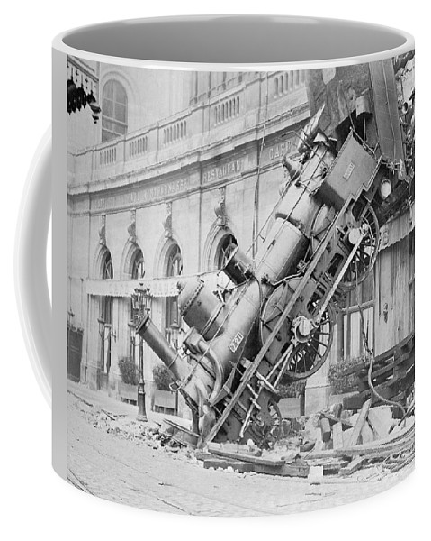 Train Wreck Coffee Mug featuring the photograph Train Wreck At Montparnasse Station by War Is Hell Store