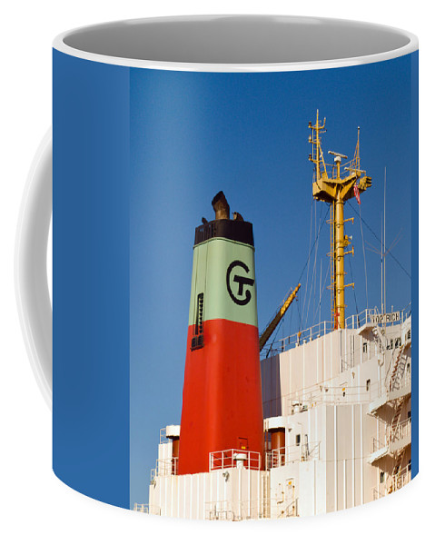 Cape; Canaveral; Port; Florida; Atlantic; Ship; Boat; Freight; Freighter; Bulk; Coal; Unloading; Loa Coffee Mug featuring the photograph Tramp Steamer Unloading Coal At Port Canaveral In Florida by Allan Hughes